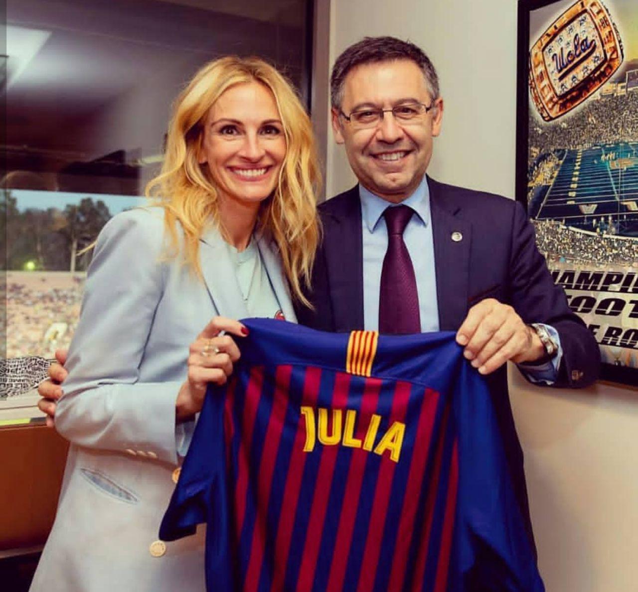جولیا رابرتز در تمرینات بارسلونا