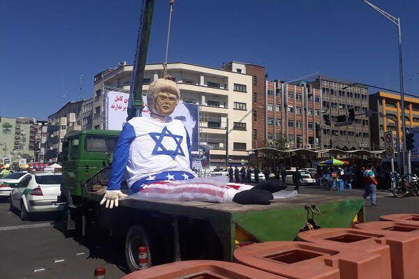 اعدام نمادین ترامپ در راهپیمایی روز قدس
