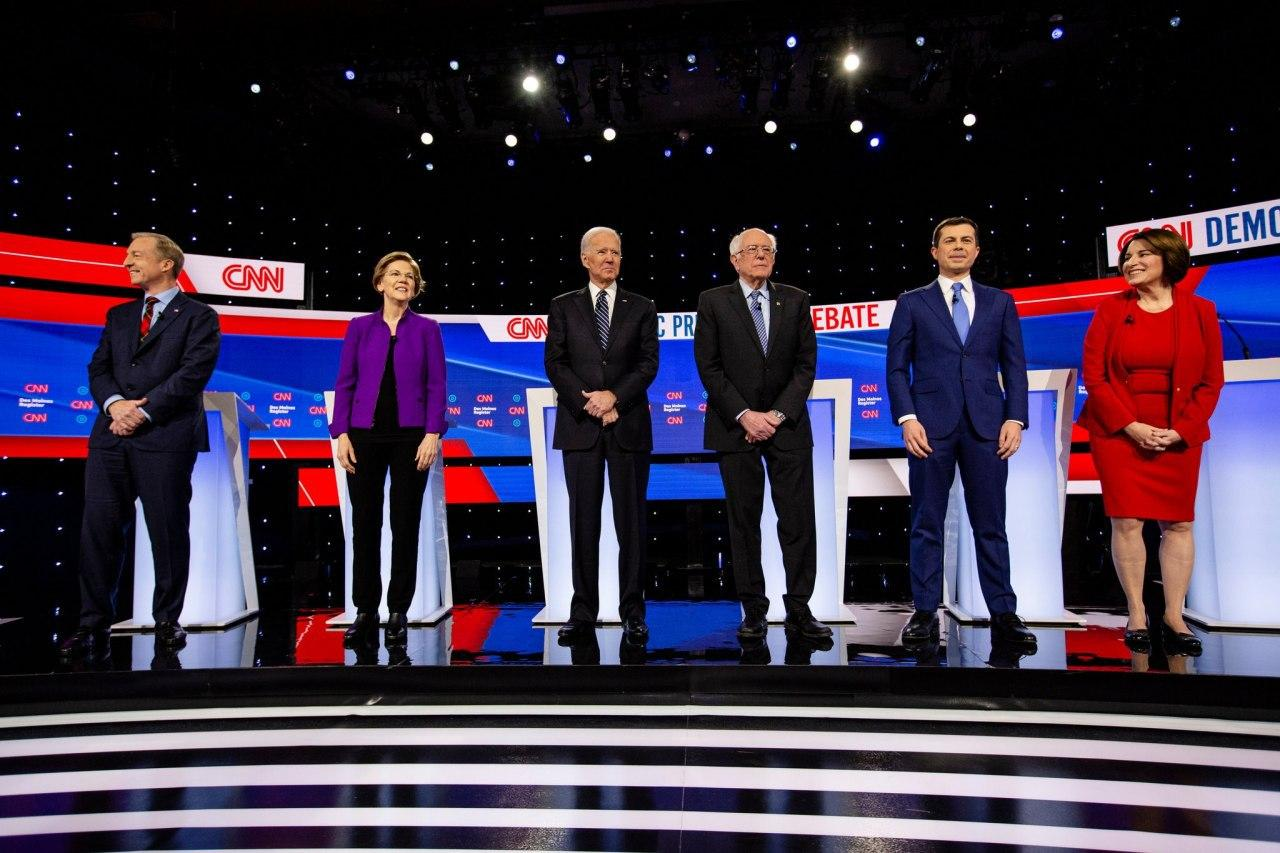 مناظره انتخاباتی دموکراتها جو بایدن برنی سندرز الیزابت وارن پیت بوتیجج ایمی کلوبشار