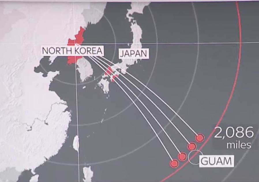نقشه حمله کره شمالی به گوام
