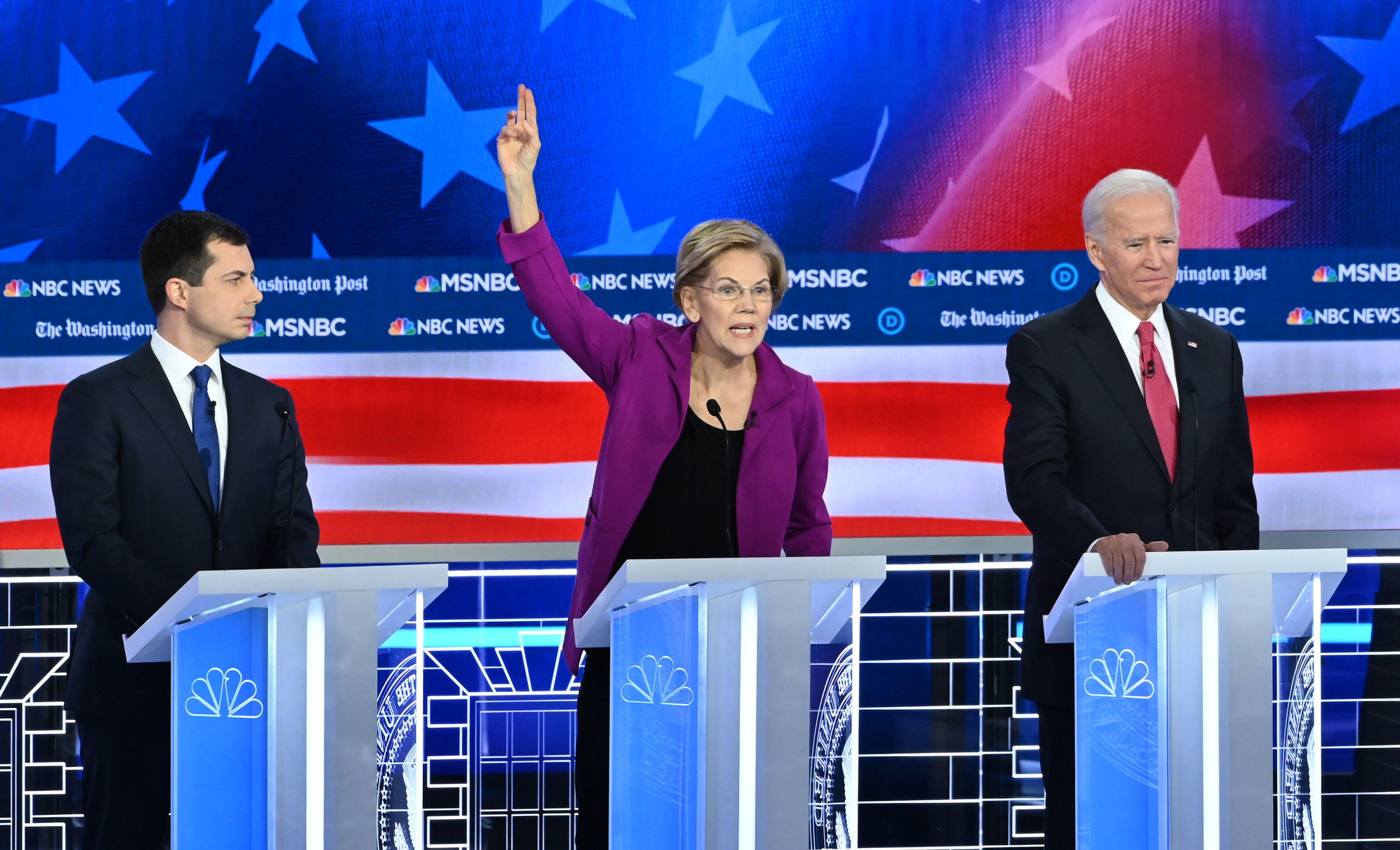 مناظره نامزدهای حزب دموکرات / آیووا برنی سندرز الیزابت وارن جو بایدن ایمی کلوبشار پیت بوتیجج
