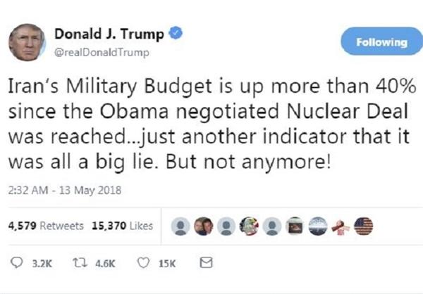 توئیت ترامپ درباره بودجه نظامی ایران