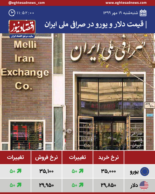 قیمت دلار و یورو در صرافی ملی امروز 19 مهر 99