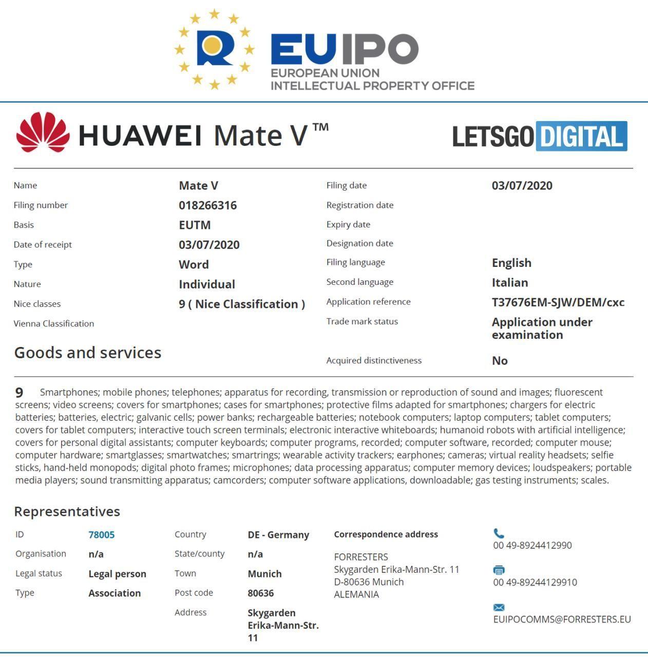 هوآوی یک نام تجاری جدید به نام «Mate V» در اداره ثبت مالکیت حقوق معنوی اتحادیه اروپا (EUIPO) ثبت کرده و ثبت این درخواست در تاریخ سوم ژوییه ۲۰۲۰ و در حوزه مربوط به گوشیهای هوشمند انجام شده است.