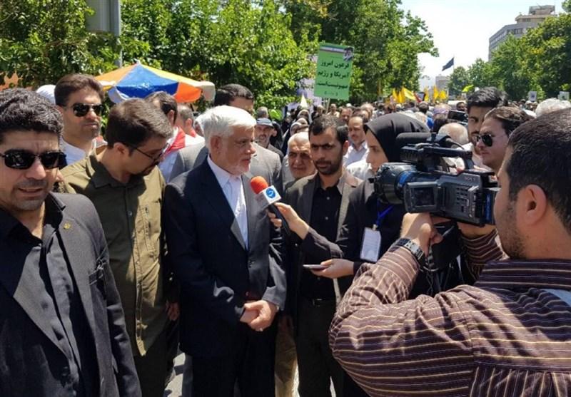 حضور محمدرضا عارف در جمع راهپیمایان روز قدس
