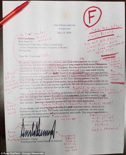 نامه دونالد ترامپ به اون چند غلط املایی دارد؟