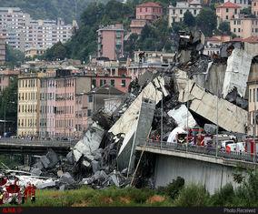 ریزش پل معلق در جنوا ایتالیا