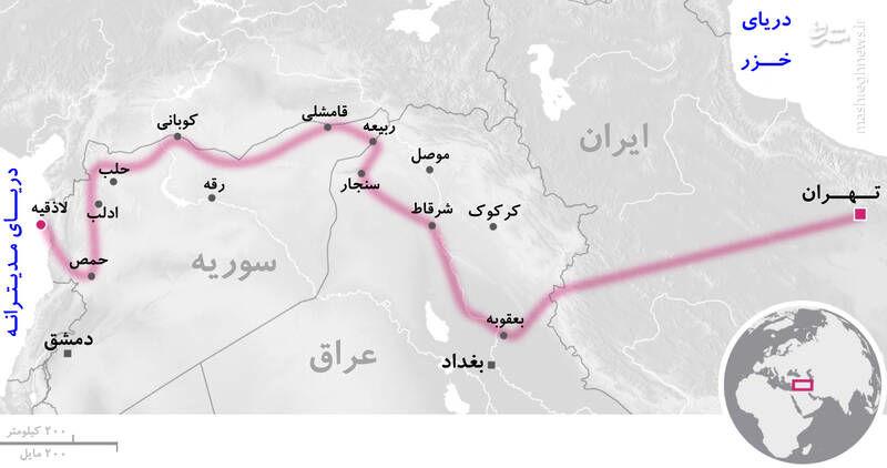 «کوریدور زمینی تهران-مدیترانه» چیست؟ / حضور نیروهای حاج قاسم پشت مرزهای رژیم صهیونیستی + عکس