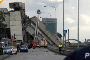 فروریختن یک پل معلق روی آزادراه در ایتالیا