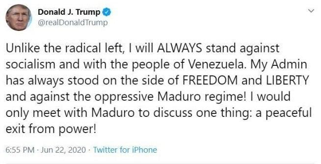 ترامپ: فقط برای کنارهگیری از قدرت با مادورو دیدار میکنم!