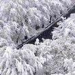 بارش برف در مسیر ارتباطی شهرستان بوانات در استان فارس + فیلم