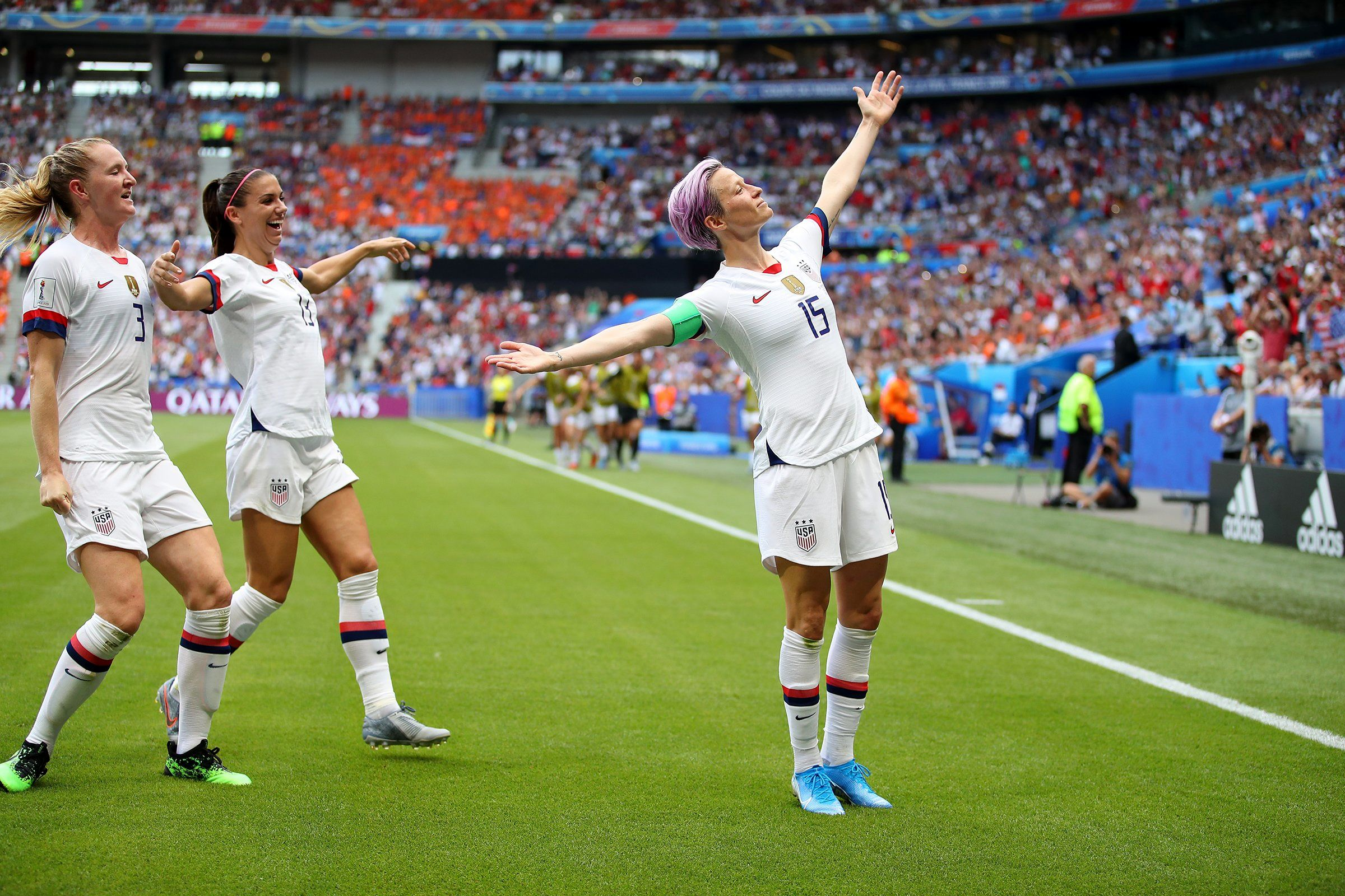 Megan Rapinoe of the U.S. women's soccer team celebrates after scoring her team's first goal during the World Cup final against France in Lyon on July 7. Days after Trump took aim at Rapinoe on Twitter for saying she would skip a visit to the White House if they won, Rapinoe marked her goals against France with a pose—arms outstretched, chin lifted in defiance—that served as its own rebuttal.