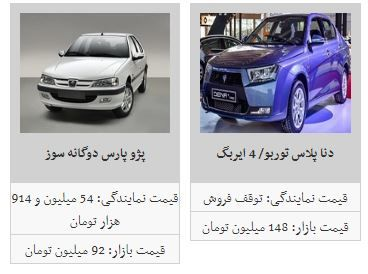 ثبات در قیمت بازار خودرو + جدول
