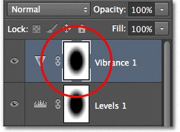 The Layers panel showing the Vibrance adjustment layer. Image © 2012 Photoshop Essentials.com