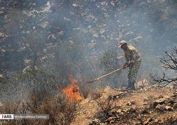 تصاویر مهار آتش سوزی در «کوهمرهسرخی شیراز»