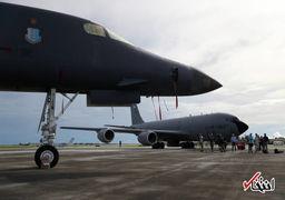 آماده باش بمب افکن های آمریکا در فرودگاه گوام با موتور روشن + عکس