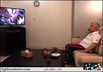 رئیس جمهور در حال تماشای دیدار تیم های فوتبال ایران و نیجریه