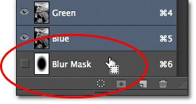 Loading the Blur Mask channel as a selection. Image © 2012 Photoshop Essentials.com