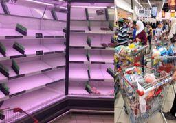 قفسه های خالی مواد غذایی در فروشگاه های قطر + عکس