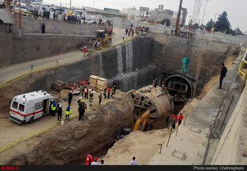 ریزش تونل مترو در قم