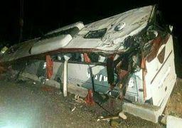 ۱۰ کشته و ۱۱ زخمی در واژگونی اتوبوس در اتوبان زنجان ـ تبریز