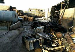 تصاویر آتش سوزی کارخانه تولید اجاق گاز