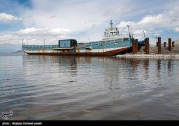 تصاویر افزایش آب در دریاچه ارومیه