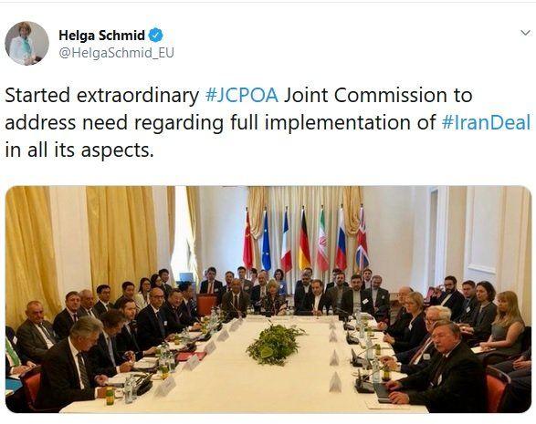 توئیت اشمید درباره برگزاری نشست کمیسیون مشترک برجام