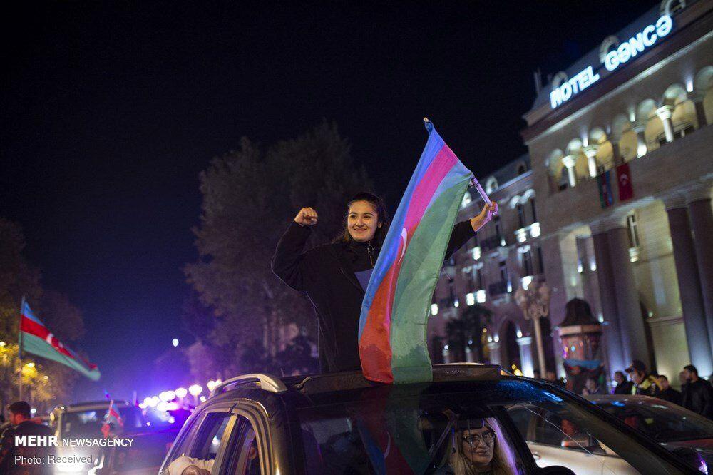 تصاویر: شادی مردم آذربایجان پس از اعلام آتش بس