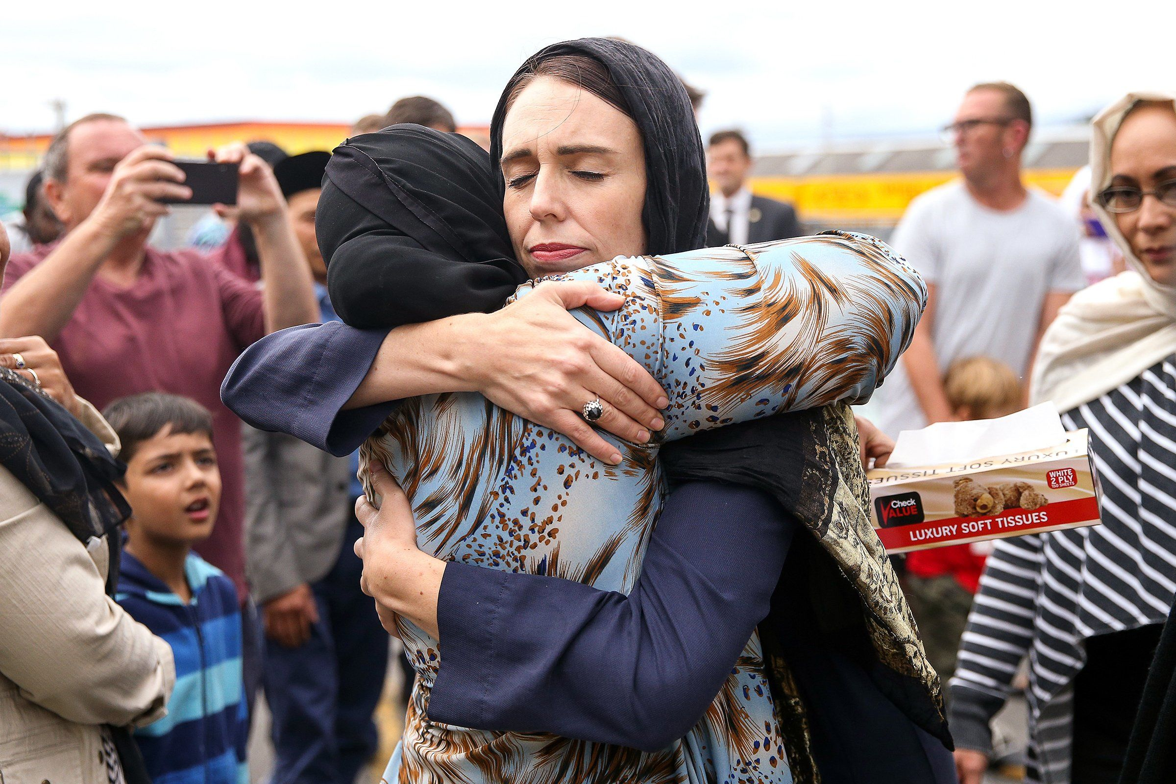 In the wake of the Christchurch attack, New Zealand Prime Minister Jacinda Ardern hugs a mosque-goer at the Kilbirnie Mosque in Wellington on March 17.